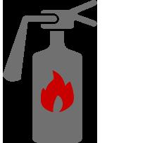 Es stellt einen Feuerlöscher als Symbol für den organisatorischen Brandschutz dar.